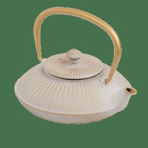 Teiere in ghisa arricchite da raffinati dettagli color oro - Bianco