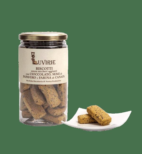 Biscotti con cioccolato, semi di papavero e farina di canapa